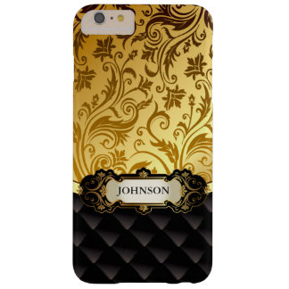 Elegant guld- vintage skuggar den svart diamanten barely there iPhone 6 plus skal