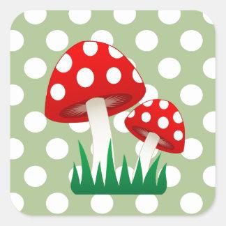 elegant gullig roligt plocka svamp flickaktigt fyrkantigt klistermärke
