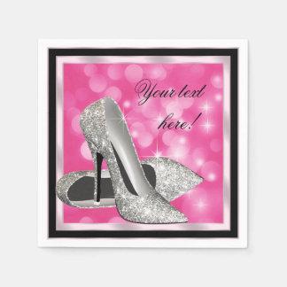 Elegant häl för kick för rosasilverglitter pappersservett