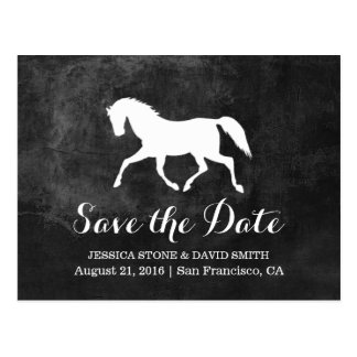 Elegant hästbröllop spara datum vykort