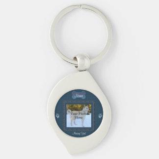 Elegant hund- eller kattminnesmärke för blått swirl silverfärgad nyckelring
