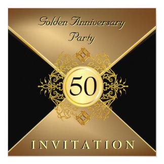 Elegant inbjudan för årsdag för guldsvartTie 50th