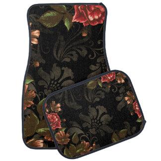 Elegant inristad svart blommigt bilmatta