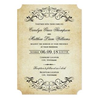 Elegant krusidull för vintage bröllopinbjudningar 12,7 x 17,8 cm inbjudningskort