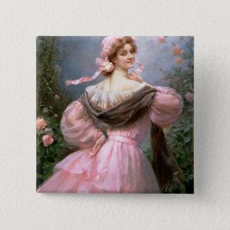 Elegant kvinna i en roträdgård standard kanpp fyrkantig 5.1 cm