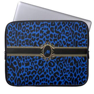 Elegant laptop sleeve för blåttLeopardMonogram Laptop Datorfodral
