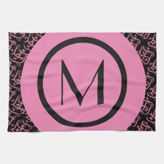 Elegant lax & rosa Parisian initial Monogram Kökshandduk