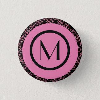 Elegant lax & rosa Parisian initial Monogram Mini Knapp Rund 3.2 Cm