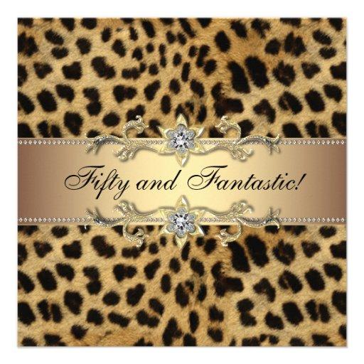 Elegant Leopardgulddam födelsedagsfest Personliga Tillkännagivanden