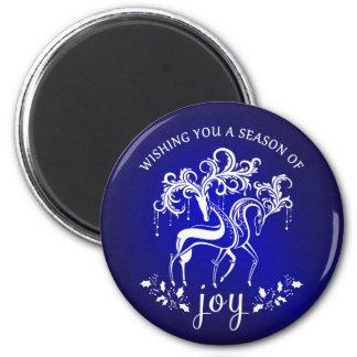 Elegant magnet för helgdag för renglädjeblått magnet rund 5.7 cm