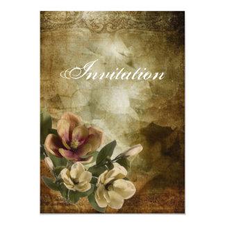 Elegant Magnoliavintageinbjudningskort för 12,7 X 17,8 Cm Inbjudningskort