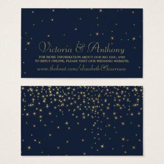 Elegant marin & guld- fallande stjärnor som gifta visitkort