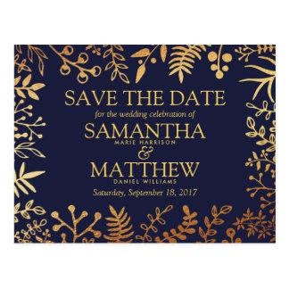 Elegant marin- & guldblommigtbröllop spara datum vykort