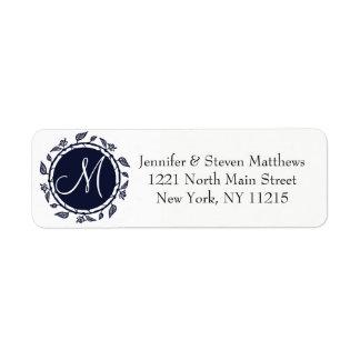 Elegant marinblå blom- kranMonogram Returadress Etikett