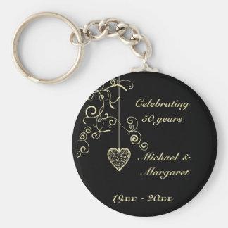 Elegant Memento för hjärtaguldbröllopårsdag Rund Nyckelring
