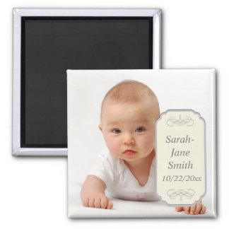 Elegant minnessak för etikettbabyfoto magnet