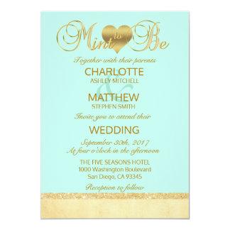 Elegant MINT som ÄR guld- modern bröllopinbjudan 12,7 X 17,8 Cm Inbjudningskort