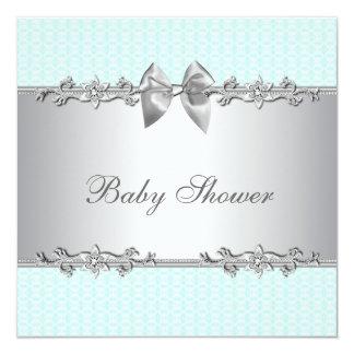 Elegant Mintgröntbaby shower Fyrkantigt 13,3 Cm Inbjudningskort