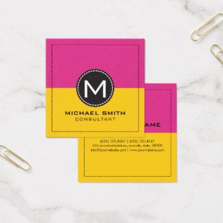 Elegant modern citron för Monogram och djup Cerise Fyrkantigt Visitkort