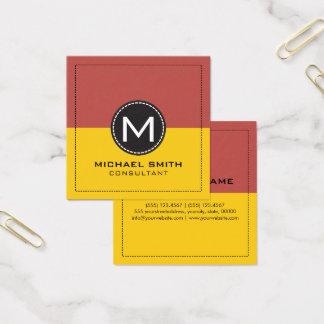 Elegant modern citron för Monogram och djup Fyrkantigt Visitkort