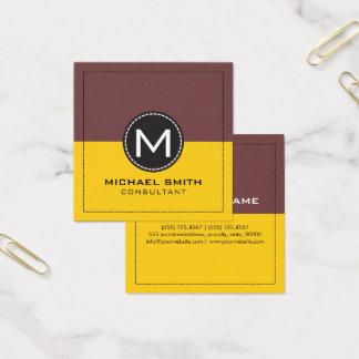Elegant modern citron för Monogram och djupt kaffe Fyrkantigt Visitkort