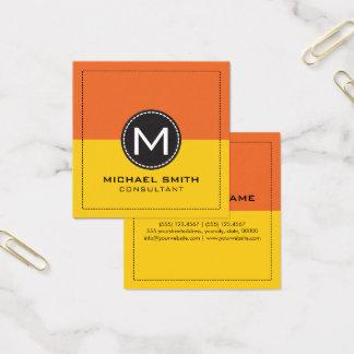 Elegant modern citron för Monogram och morotorange Fyrkantigt Visitkort