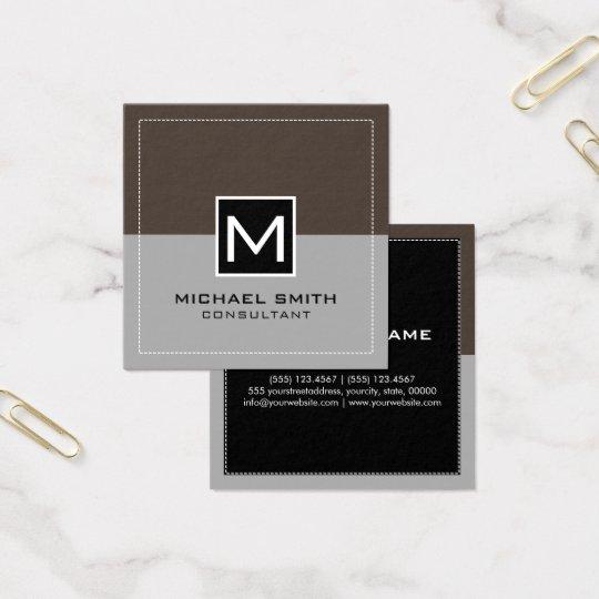 Elegant modern grå Lava för Monogram Fyrkantigt Visitkort