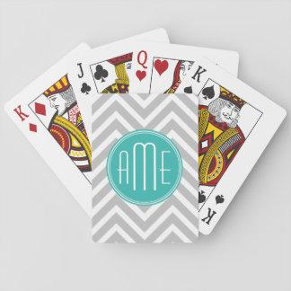 Elegant modern grå sparre- och MintMonogram Spel Kort