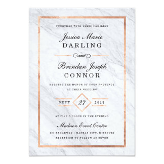 Elegant modern marmor & rosa guld- bröllop 12,7 x 17,8 cm inbjudningskort
