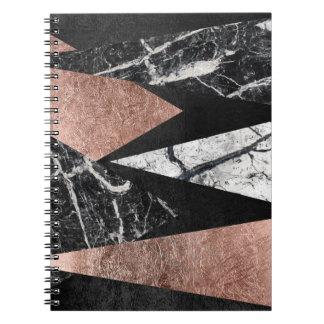 Elegant modern marmor, rosa guld & svart triangel anteckningsbok med spiral