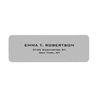 Elegant modern moderiktig Minimalist för silvergrå Returadress Etikett
