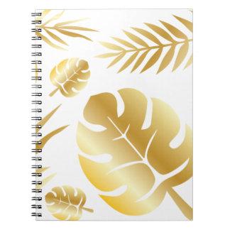 Elegant modern mönsterdesign för guld- tropiska anteckningsbok
