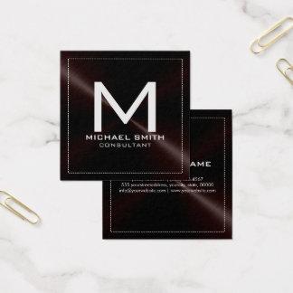 Elegant modern mörk rostfri metall för Monogram Fyrkantigt Visitkort