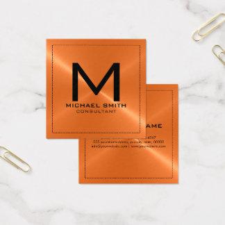 Elegant modern orange rostfri metall för Monogram Fyrkantigt Visitkort