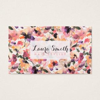 Elegant modern rosa blom- vattenfärghårstylist visitkort