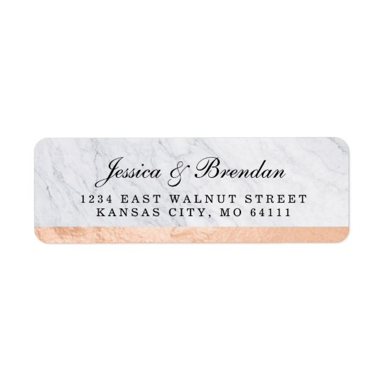 Elegant modern rosa guld- bröllopreturadress returadress etikett