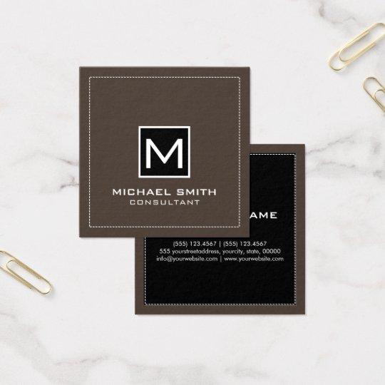 Elegant modern svart Lava för Monogram Fyrkantigt Visitkort