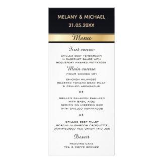 Elegant modern svart vit- och guldbröllopmeny reklamkort
