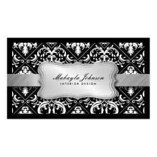 Elegant modern svartvit damast med silver set av standard visitkort