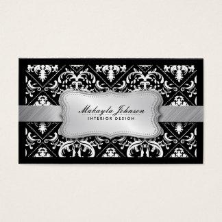Elegant modern svartvit damast med silver visitkort