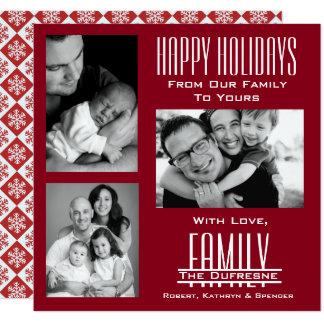 Elegant & modern tre röd jul för foto fyrkantigt 13,3 cm inbjudningskort