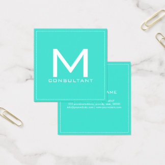 Elegant modern turkos för yrkesmässig Monogram Fyrkantigt Visitkort
