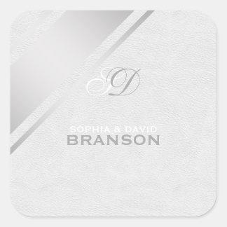 Elegant Monogram för läder för silverrandvit Fyrkantigt Klistermärke