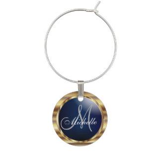 Elegant Monogram i marinblått & metalliskt guld Berlock Vinglas
