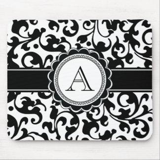 Elegant Monogrammed svartvit rulladamast Musmatta
