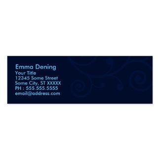 Elegant mörk - blått set av smala visitkort