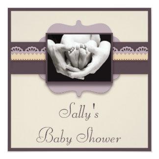 Elegant neutral baby shower för gulligt fyrkantigt 13,3 cm inbjudningskort