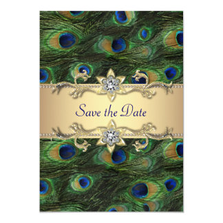 Elegant påfågelbröllop spara datum 12,7 x 17,8 cm inbjudningskort