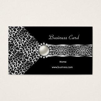 Elegant pärla för diamant för Leopardsvartsilver Visitkort