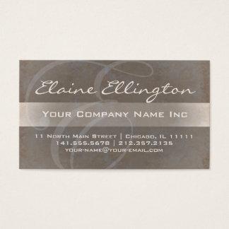 Elegant polerad Taupe för Monogram E Visitkort